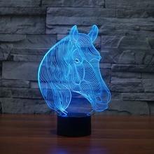USB Новизна Подарки 7 Цветов Изменение Животное Лошадь Светодиодные Ночные Огни 3D LED Стол Настольные Лампы, как Украшение Дома