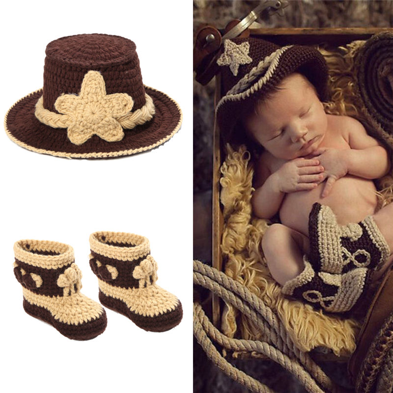 Newborn 24Months Charming Crochet Cowboy Cowgirl Hat+Boots+Vest Jacket Baby  Girl Boy Knitted Clothes Infant Photo Props Outfits-in Clothing Sets from  Mother ... 787cd6a59365