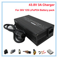 120W 36V 3A LiFePO4 battery Charger 43.8V 3A smart charger Used for 12S 36V 12AH 15AH 20AH LiFePO4 battery charger