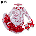 GSCH Christmas Baby Clothes Sets Romper + Skirt +Shoes+Headband Set 4pcs Infant Newborn Baby Clothing Suit Party Girls Outfit
