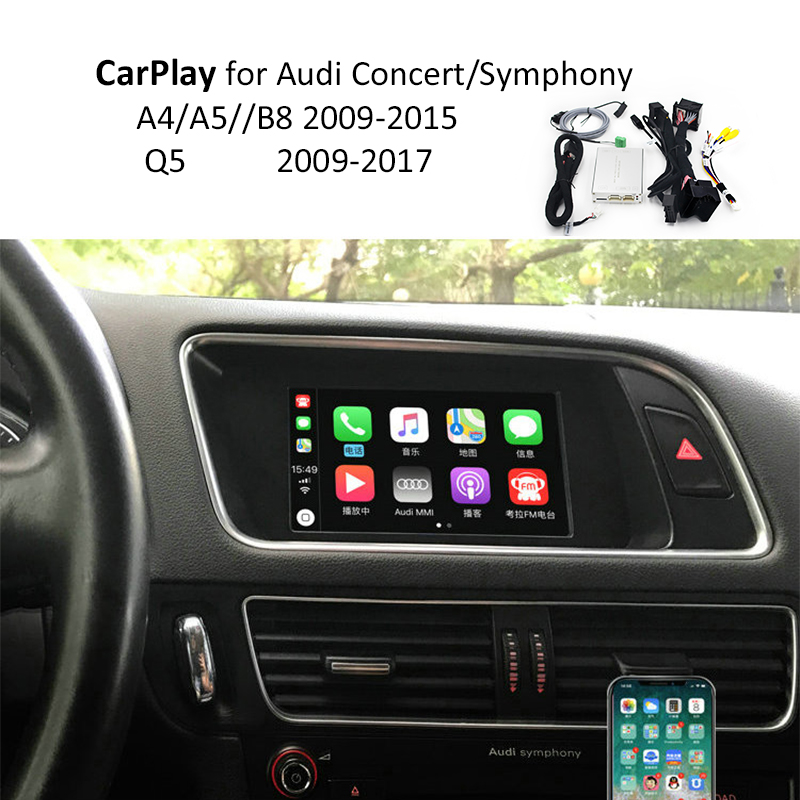 Video Interface with Apple Carplay Android Auto screen Mirroring functions for A4 A5 B8 Q5 with Audi Concert Symphony Model