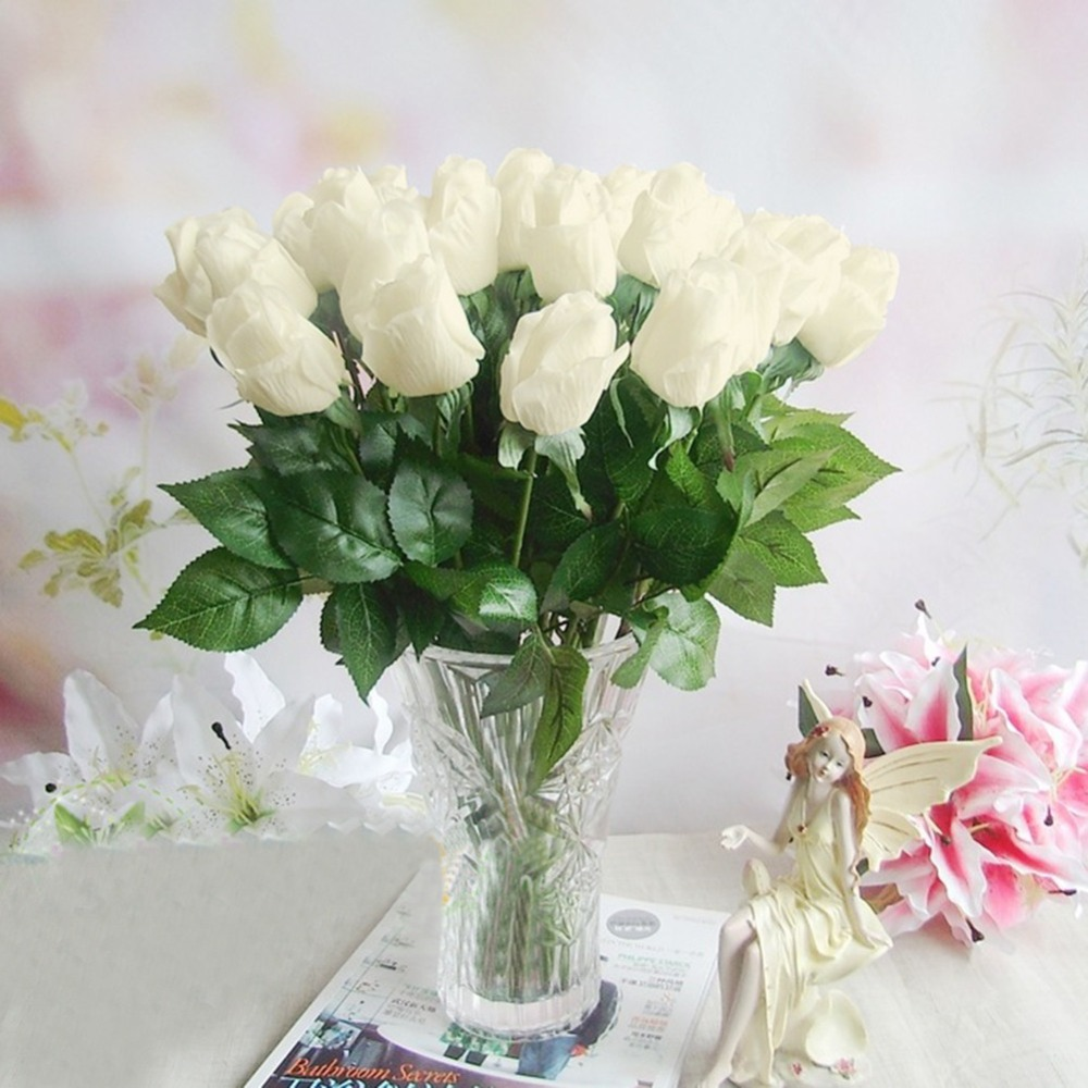Decorative Fake Rose Buds With Green Leaves Artificial Flowers