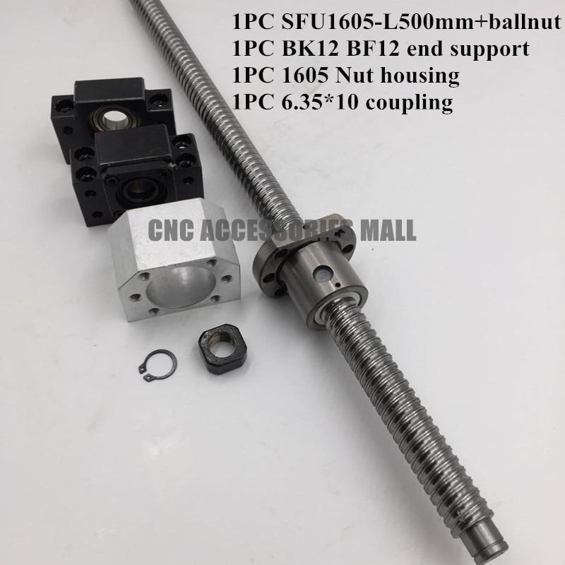 Ballscrew 1605-L500mm + SFU1605 Ballnut + BK12 BF12 End Support + 1605 Ballnut Housing + 6.35*10 Coupling rolled c7 ballscrew 1605 700mm ballscrew with metal deflector ballnut bk12 bf12 support coupler