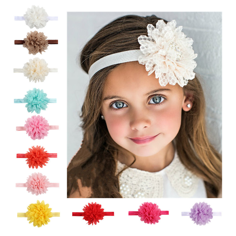 10 Colors Girls Chiffon Flower Headbands Kids Girls Lace Shabby Flowers Hair Bands   Headwear   Hair Accessories Photography props