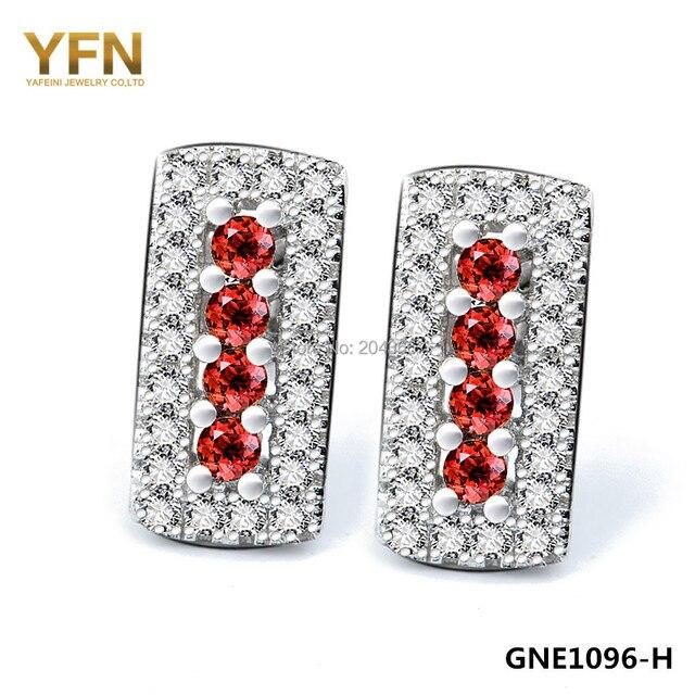 GNE1096 Genuine 925 Sterling Silver Stud Earrings For Women Fashion Jewelry Sieve Design Cubic Zircon Earrings Brincos