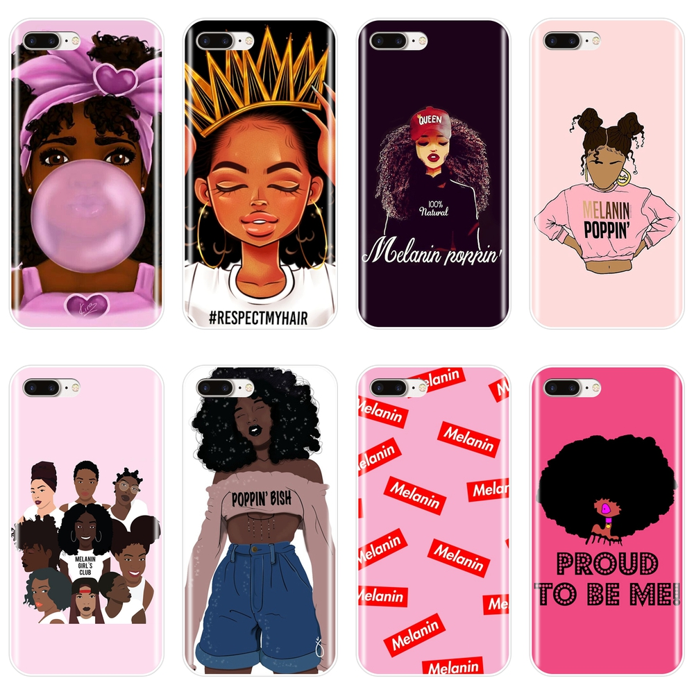 MELANIN POPPIN Black Girl Case For iPhone X XR XS MAX Soft Silicone Back Cover For Apple iPhone 8 7 6S 6 S Plus Phone Case