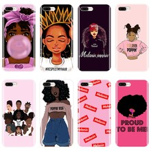 Funda negra de chica de MELANIN POPIN para iPhone X XR XS MAX funda trasera de silicona suave para Apple iPhone 8 7 funda para teléfono 6 S 6 S Plus(China)
