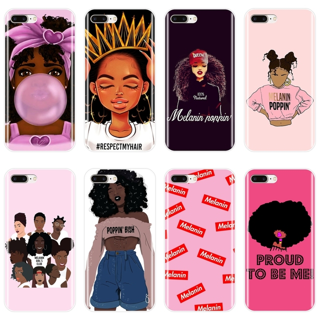 newest collection 2d082 aaaf3 US $0.6 49% OFF|MELANIN POPPIN Black Girl Case For iPhone X XR XS MAX Soft  Silicone Back Cover For Apple iPhone 8 7 6S 6 S Plus Phone Case-in Fitted  ...