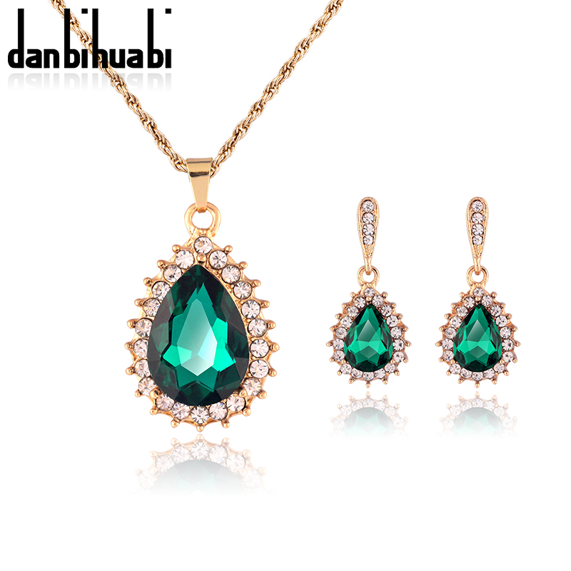 Wholesale Price New Rose Gold color Big Crystal Rhinestone Pendant Necklace High Quality Earring Match Necklace Earring Sets image