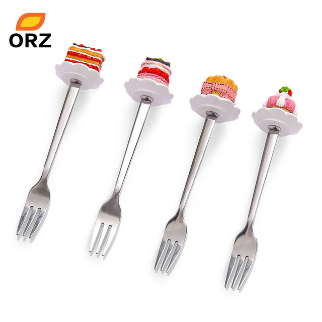 ORZ 4PCS/Set Stainless Steel Forks Resin Cake Shape Cute Forks Dessert Fruit Muffin Cocktail Buffet Cutlery Dinnerware Set
