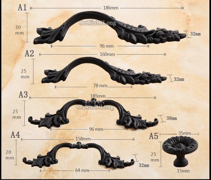 Diseñado 5 pares o 10 piezas antiguo europeo de muebles de puertas de cocina manijas armario del gabinete del armario del cajón tira manijas y perillas - 6