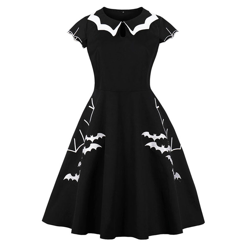 Women Vintage Gothic Summer Plus Size Dress Black Bat Embroidery Hollow-Out Color Block Peter Pan Collar Retro Halloween Dresses