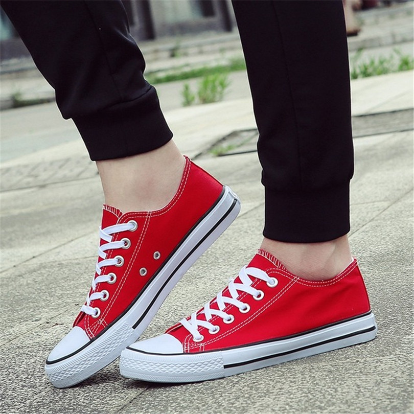 BINHIIRO 2019 Men's Vulcanize Shoes Canvas Fashion Lace-up Solid Lovers Shoes Rubber Flat Sneakers Autumn Casual Man Shoes