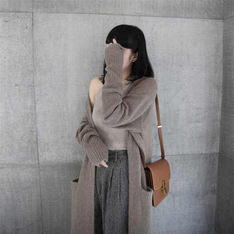 Nuova Versione Coreana di 2019 è Allentato, Pigro e Più Spessa. Lungo Lavorato A Maglia cardigan con il maglione giacca in primavera e in Autunno