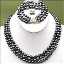 FREE SHIPPING HOT sell new Style >>>> ELEGANT 3 ROWS BLACK 8-9 MM TAHITIAN PEARL NECKLACE BRACELET EARRING SET