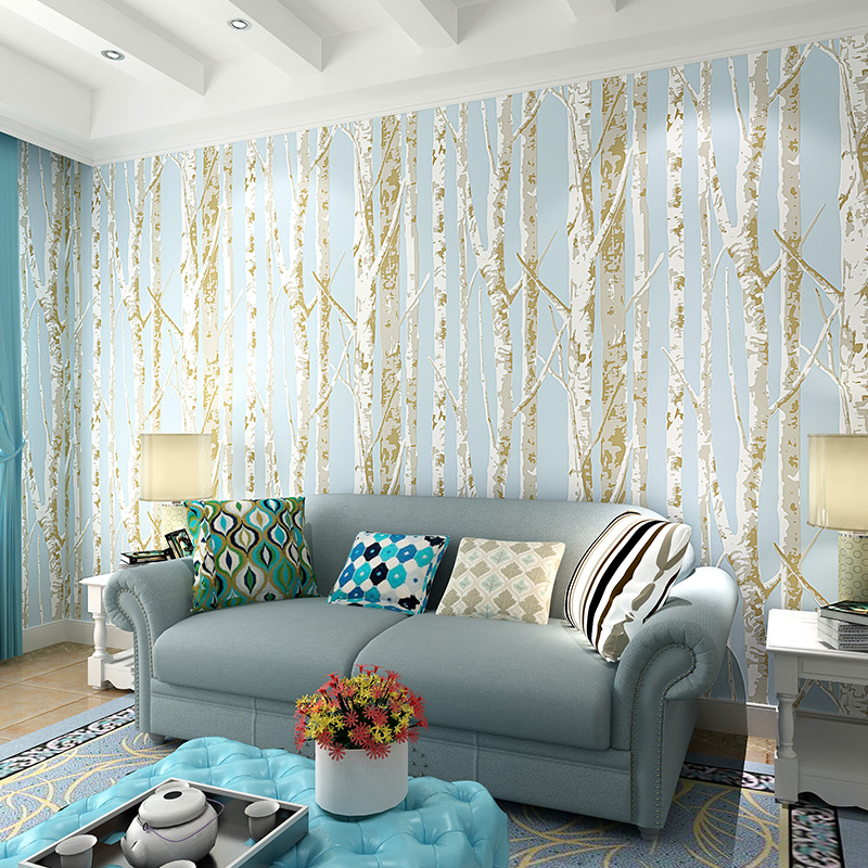 Modern birch tree wallpaper brief wallpaper trees for Wallpaper home improvement questions