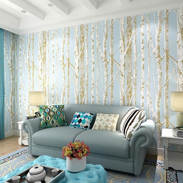 Moderne Birke Tapete Kurzen Tapeten Bäume Tapete 3d Mural Wand Rolle