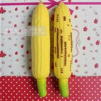 Wholesale 10pcs Lot 19CM Kawaii Soft Roasted Corn Simulation Fruit Queeze Bun Toys Cell Phone Key