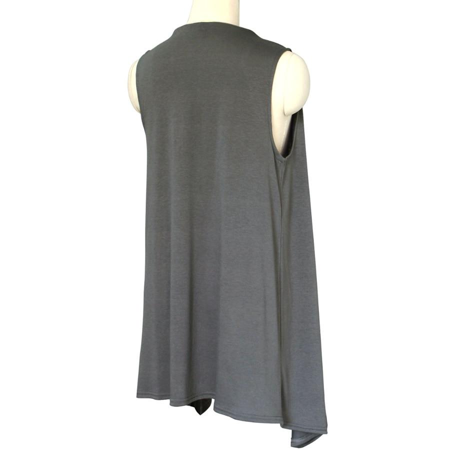 Knitting Pattern Long Sleeveless Cardigan : Woman Knitted Cotton Sleeveless Open Stitch Long Cardigan ...