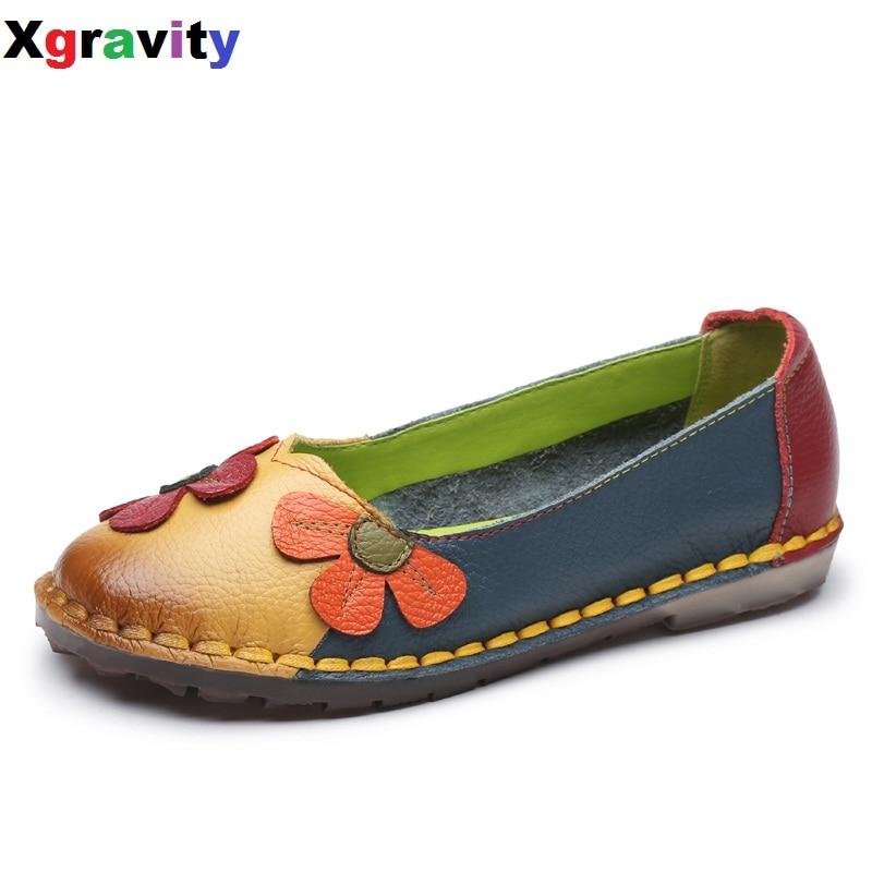 Xgravity Summer Autumn Fashion Flower Design Round Toe Mix Color Flat Shoes Vintage Genuine Leather Women
