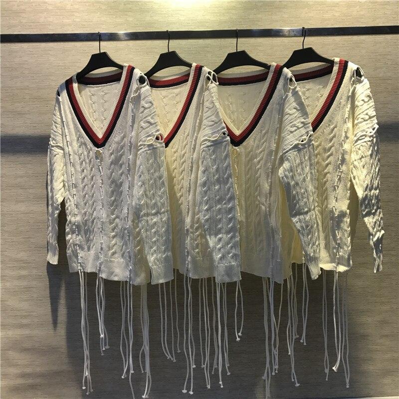 cou V Creux Tricoté Luxe Marque Chandail Couture Blanc Rayures Gamme Femmes Haut Lâche De Mode Gland xCwq8g0