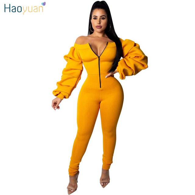 17080bba007c0 HAOYUAN One Piece Rompers Womens Jumpsuit Plus Size Overalls Layered Ruched  Streetwear Off Shoulder Long Sleeve Sexy Jumpsuit