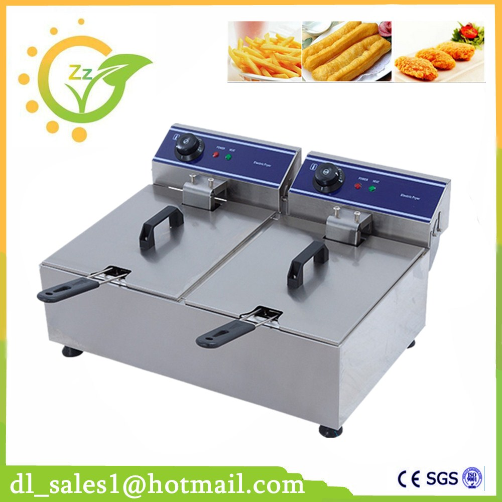 Double Tank Electric Fryer, 20L Commercial Deep Fryer With Temperature Control, Manual Control or Mechanical Timer salter air fryer home high capacity multifunction no smoke chicken wings fries machine intelligent electric fryer
