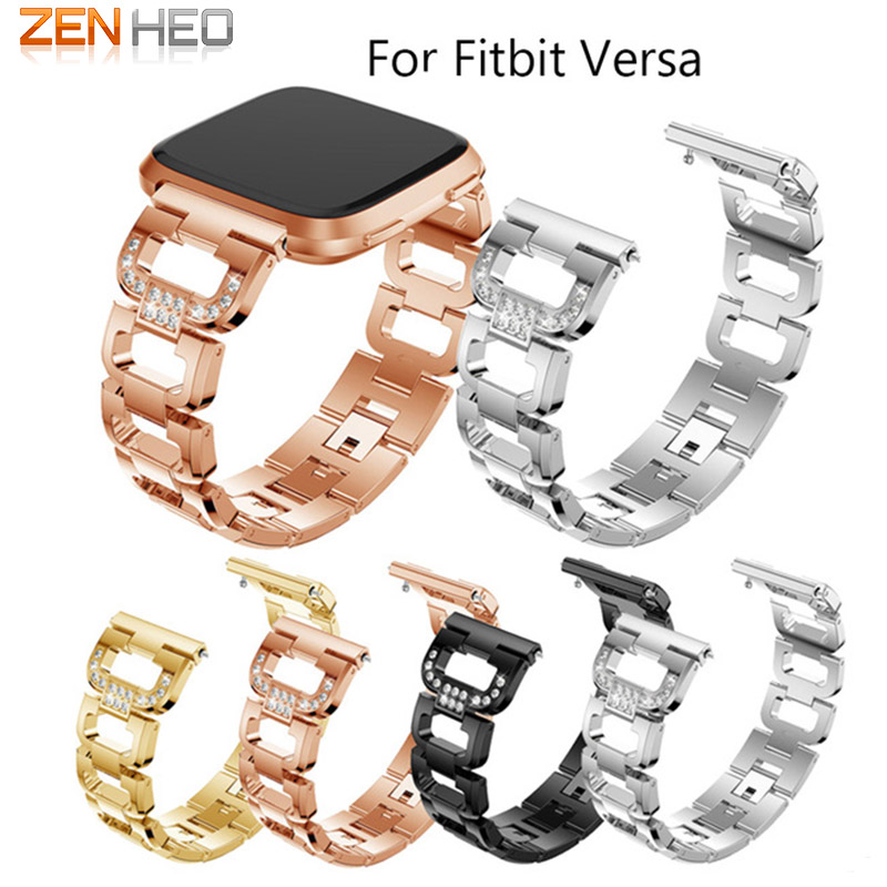 Metal Strap For Fitbit Versa band strap Stainless Steel with Crystal Bracelet For Fitbit Versa Replace Wristbands Accessories