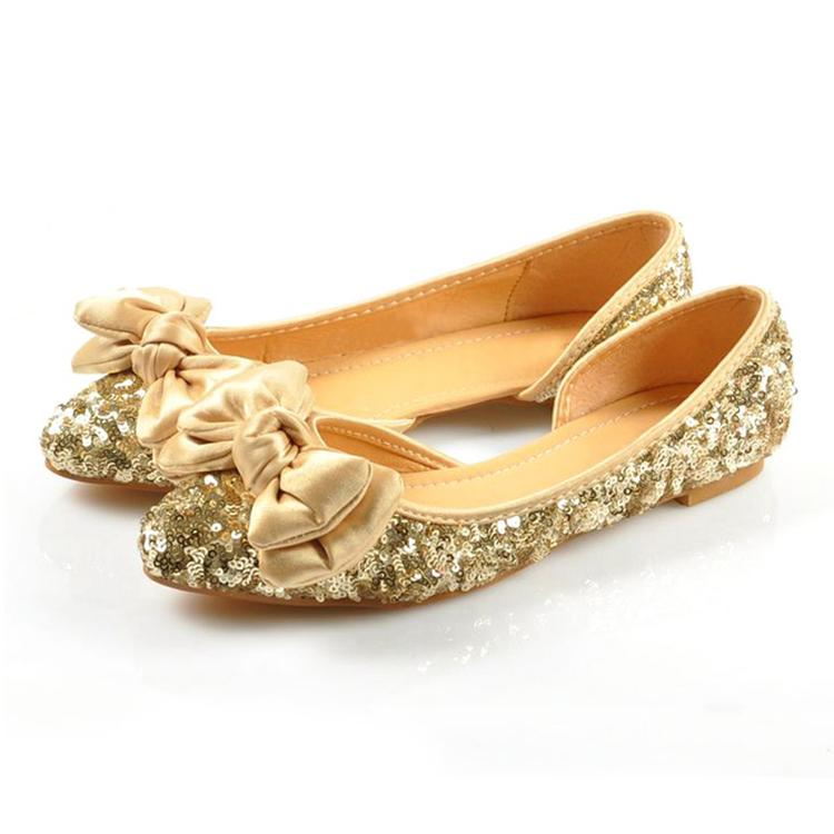 Plus size ladies wedding shoes glitter gold woman flats ...