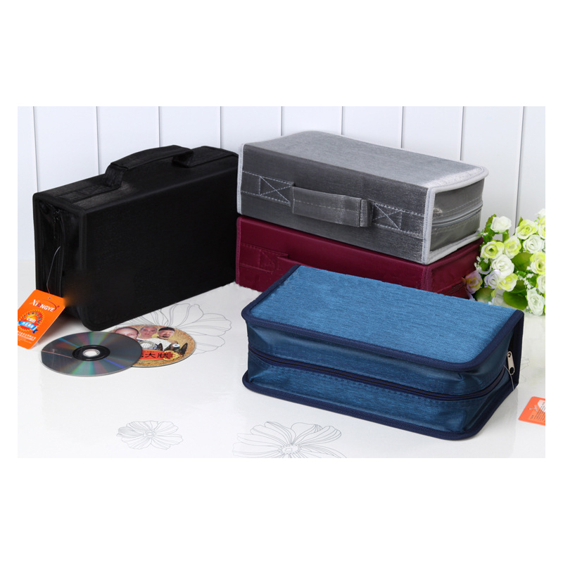 High Quality Mercerized Cloth Oblong Shape 128 Pieces CD/DVD Protect Storage Large Carry Bag Holder Car Box