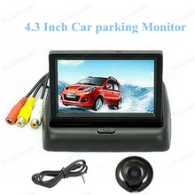 hot sell 4.3 Inch TFT color 12V Car Monitor Reverse Connect 4 Parking Sensor For 360 degree HD CCD Car Parking Camera