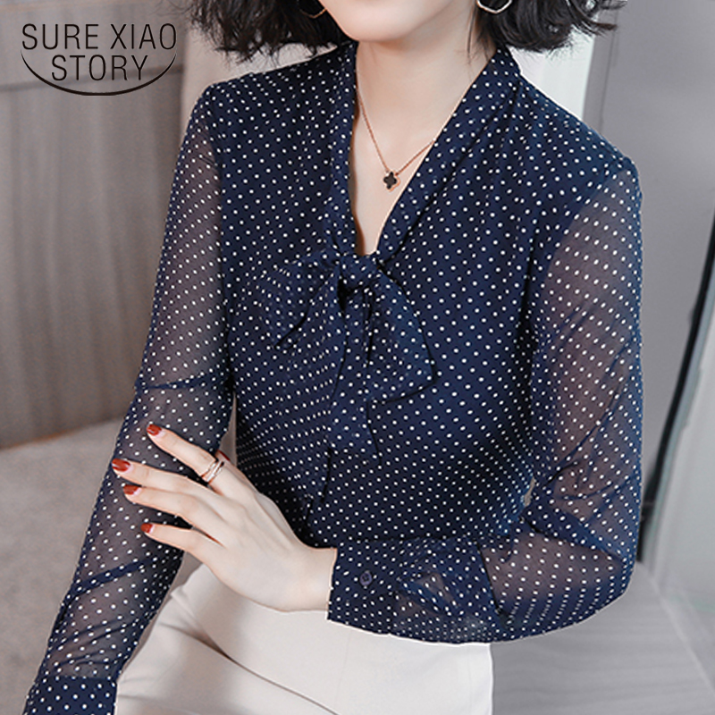 Bow Collar Office Blouse Long Sleeve Women Shirts Fashion Blue Dot Print Chiffon Blouse Shirt Womens Tops And Blouses 1864 50