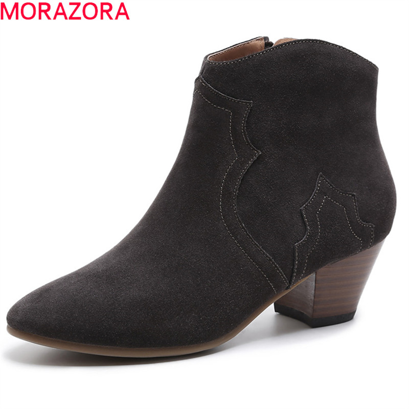 MORAZORA 2018 high quality suede leather ladies boots pointed toe zip ankle boots for women fashion autumn shoes woman boots moonmeek 2018 fashion autumn winter shoes woman pointed toe shoes woman wedges ladies boots women genuine leather ankle boots