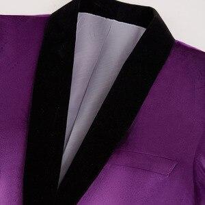 Image 2 - PYJTRL Mens Green Purple Pink Blue Gold Red Black Velvet Suits With Pants Wedding Groom Singers Prom Dress Suits Costume Homme