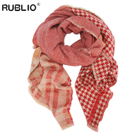 RUBLIO New Fashion Stole Scarves Silk Scarf Double Faced High Quality Twill Cotton Geometic Pattern Scarf