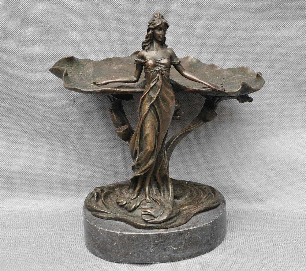 bi003692 10 Bronze Copper Beauty Women Lotus Art Sculpture Statue Statues & Sculptures Home & Garden - title=