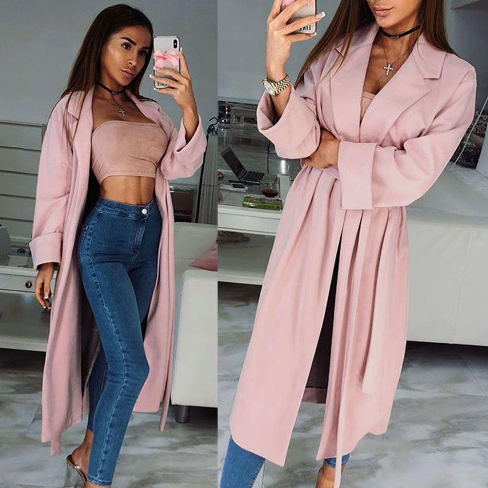 YJSFG HOUSE Womens Fashion Autumn   Trench   Casual Open Front Cardigan   Trench   Coats Long Sleeve Duster Long Outwear Belt