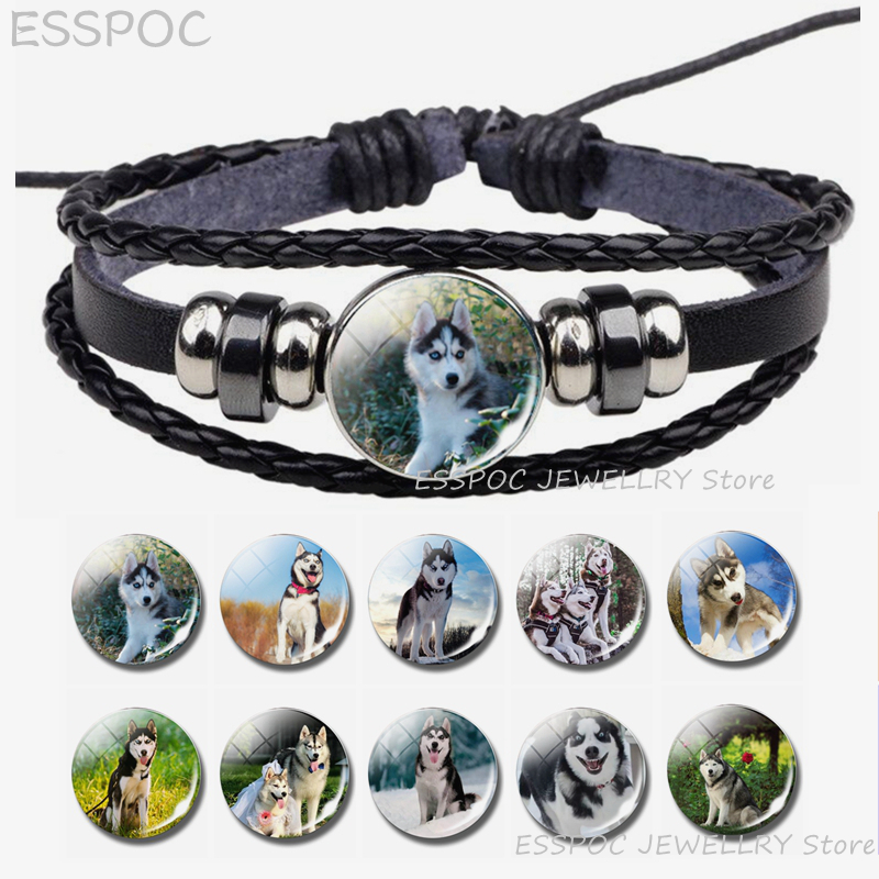 Siberian Husky <font><b>Bracelet</b></font> Wolf <font><b>Dog</b></font> Puppy Steampunk Black Leather <font><b>Bracelets</b></font> Punk Jewelry Gothic Styled Fashion <font><b>Unisex</b></font> Accessories image