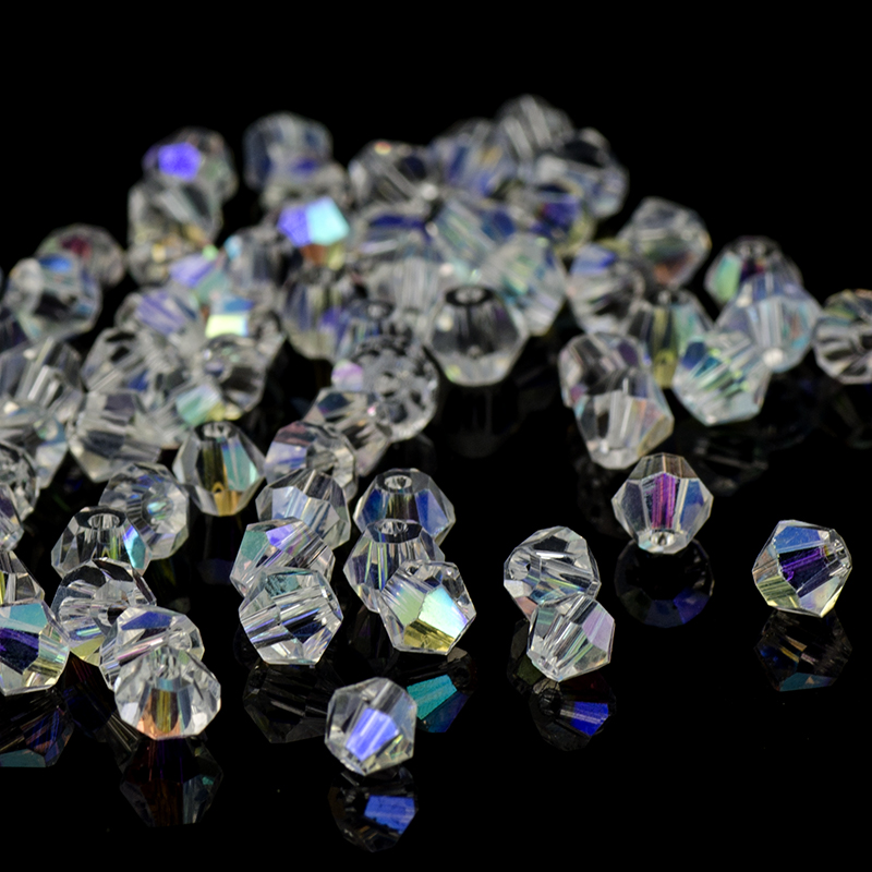 100pcs 6mm Bicone Faceted 5301# Crystal Glass Loose Spacer Beads DIY Jewelry