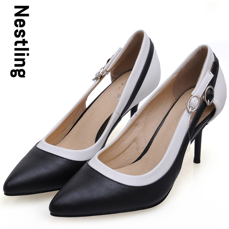 ФОТО New 2016 Spring Fashion Women OL Dress Shoes Woman Sexy Pointed Toe High Heels Black White Stitching Ankle Strap Women Pumps D35
