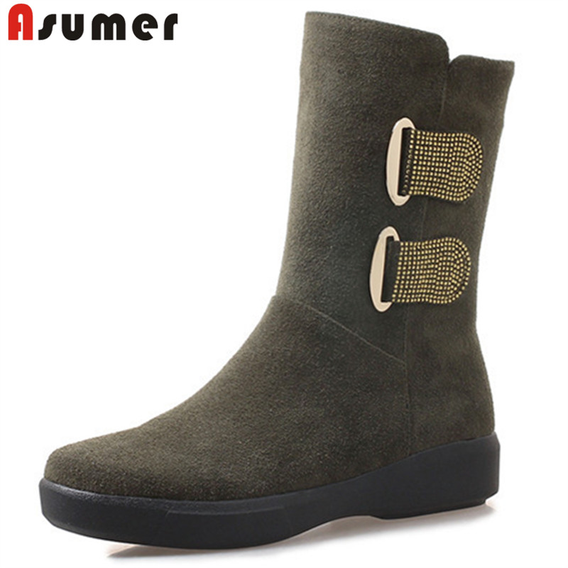 ASUMER big size fashion winter boots women round toe mid calf boots keep warm snow boots zip flat with suede leather boots asumer black fashion 2018 autumn winter boots women round toe zip mixed colors ankle boots flat with suede leather boots