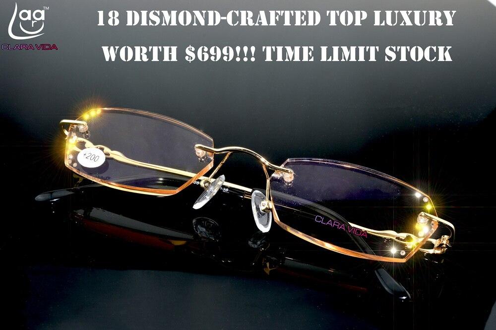 = = VIDA CLARA Moda Senhoras HD Luxo Diamante Arestas de Corte Ultra Leve Sem Aro Óculos de Leitura Com Caso + 1 + 1.5 + 2 + 2.5 + 3