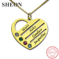 SHEON 925 Sterling Silver Heart Mother Necklaces Custom Name Engraving Birthstone Necklace Jewelery Christmas Day Gift for Mom