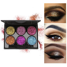 DNM 6 Color Onion Powder Pearl Glitter Glitter Eye Shadow Sequin Super Flash Stage Eye Makeup with Brush Make Up Palette TSLM2(China)