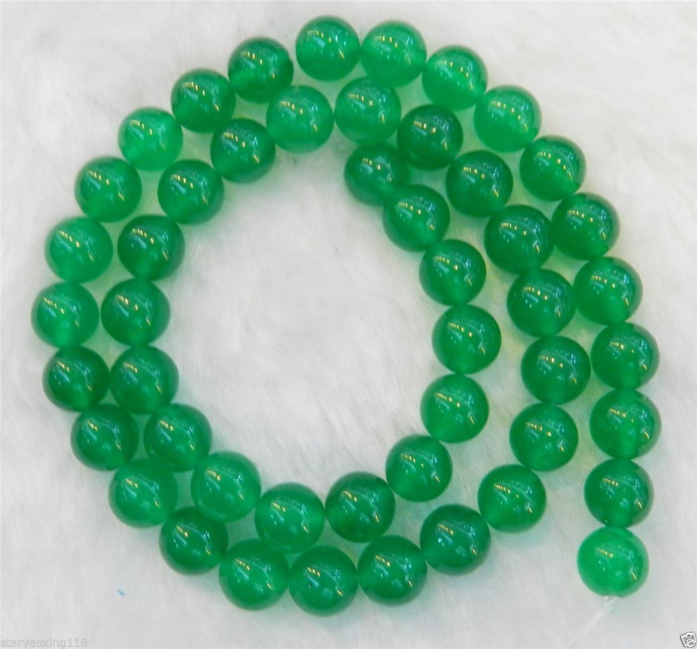 bd10c1c3672 8mm Natural Green Round Loose Fashion girl jewelry 2PC jadeite Beads 15