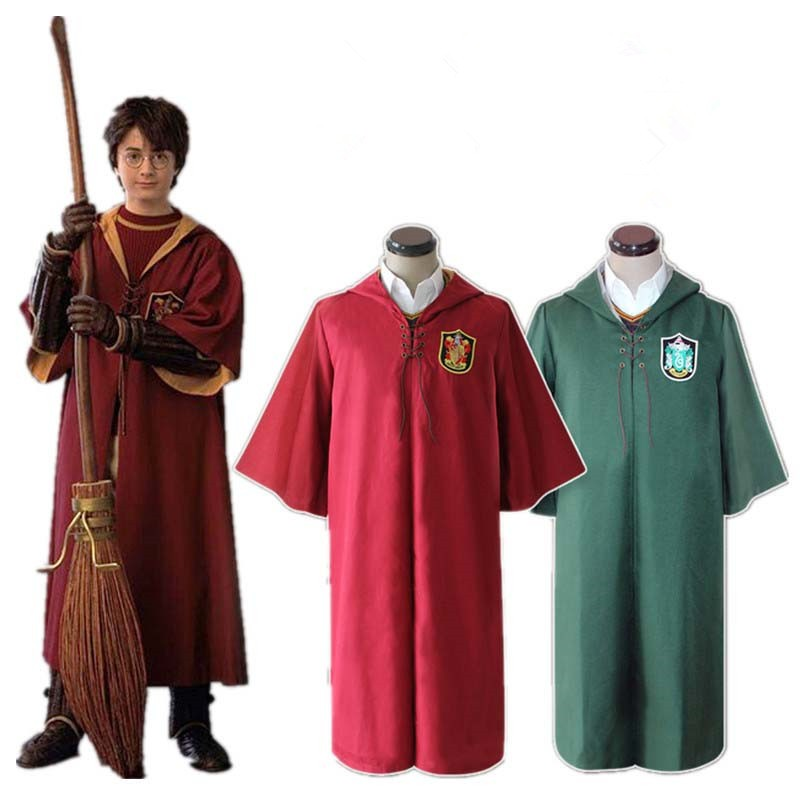 Harri Potter Robe Cape Cloak Gryffindor Slytherin Quidditch Robe Cloak cosplay costumes
