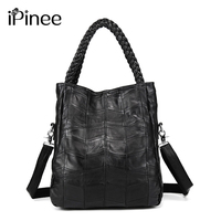 iPinee 100% Genuine Leather Bags Real Sheepskin Women Handbags Patchwork Crossbody Bags For Women Free Shipping