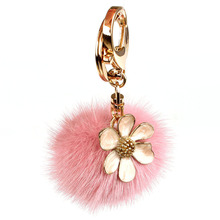 цена на 6CM Pompom Flower Fluffy Fashion Genuine Real Mink Fur Keychain Pom Pom Car Key Chain Bag Charm Women Bag Accessories Pendant