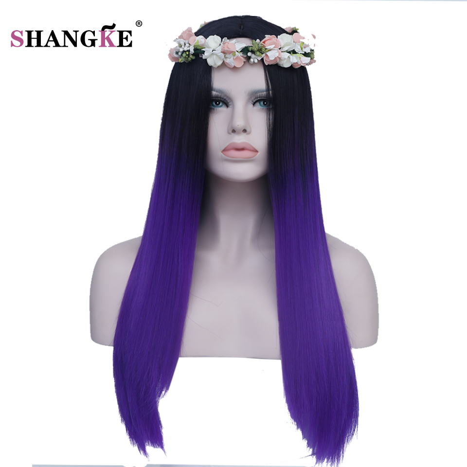 """SHANGKE 24"""" Long Straight Ombre Wigs Women Heat Resistant Synthetic Wigs For Black White Women Natural Ombre Blue or Purple Hair"""