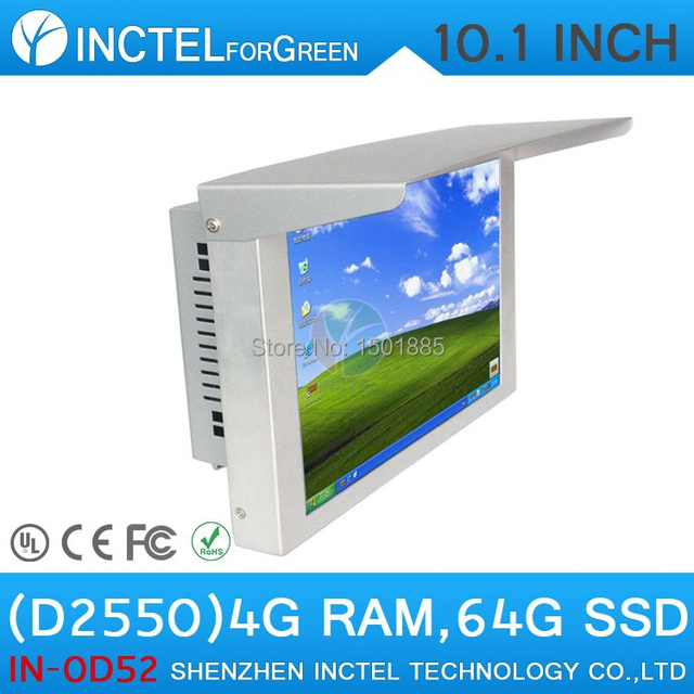 10'' LED Gtouch 5 wire Resistive IP61 standard All in One Desktop Computer witn D2550 4G RAM 64G SSD